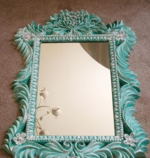 Vintage hand painted Turquoise Mirror