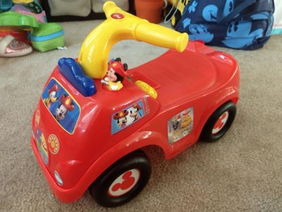 Mickey mouse ride on fire truck