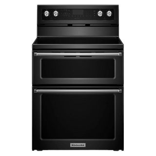 "KitchenAid 30"" Black Double Oven Glass Top Range KFED500EBL"