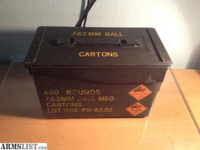 For Sale: 460 round ammo can of surplus 7.62x51 m80 ball made by PMC