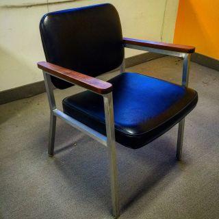 Bauhaus Aluminum Wood and Black Arm Chair