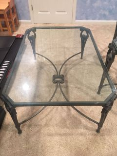 Wrought Iron Glass Table Set