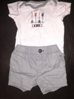 Baby boy outfit, 9-12 month onesie and carters 9 month shorts