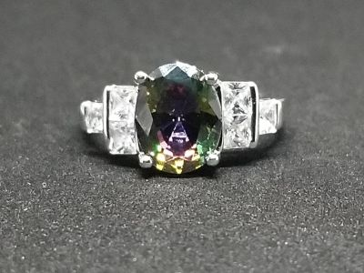 Simulated mystic topaz and synthetic diamond ring