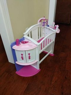 Doll baby crib, sink, and high chair playset