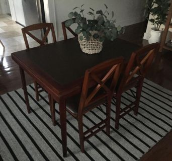 Folding table and four folding chairs