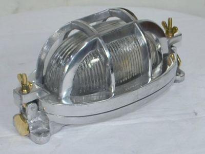 Aluminium Oval Ships Bulkhead Light – Ribbed Glass