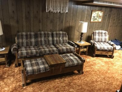 8 Piece Wood Sofa Set with Lamps
