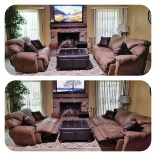 Microfiber brown Reclining living room set with ottoman