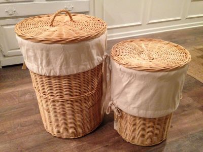 Pottery Barn laundry hampers with liners
