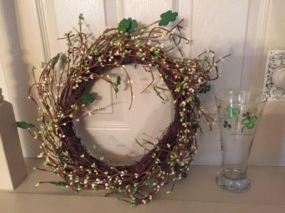 Irish themed wreath and vase (or beer glass!), total $10