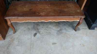 """Wood coffee table measures 46"""" by 19"""" and is 15"""" tall - can be refinished"""