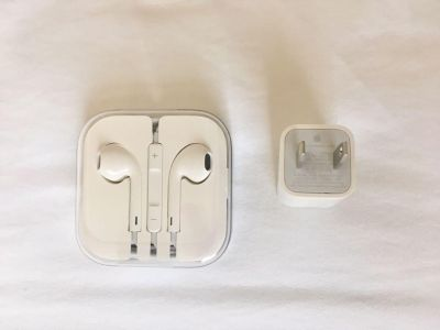 Authentic Apple iPhone Headphones and Wall Charger Plug - Brand New