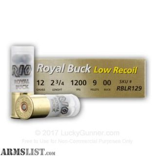 """For Sale: 250 Rounds Royal Buck Low Recoil 12 Gauge 2.75"""""""