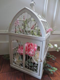 """Wood White Cage with Flowers 19"""" tall"""