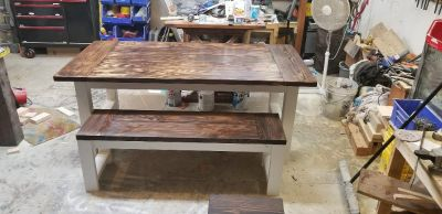 Custom built rustic farmhouse tables and benches