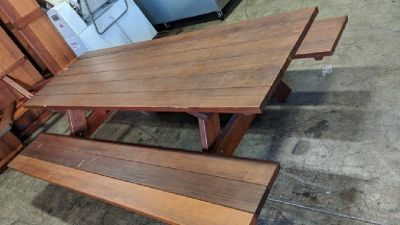 (2) Rectangular Redwood Picnic Table w/Benches RTR# 8111401-05