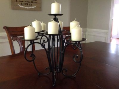 Rod iron candle holder