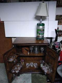 Pick up now!$100 dry bar with bar accessories,drink accessories and all glasses included/ also with the henniken lamp.