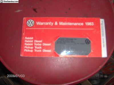 warranty & maintenance book