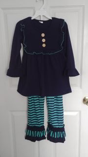 Navy and aqua two piece outfit