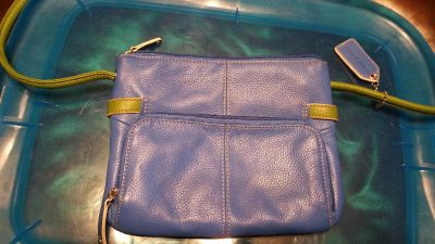 Blue, green, and brown chain purse