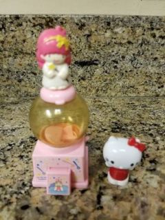 Vintage Sanrio Mini gumball machine and Hello Kitty pencil topper