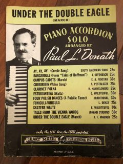 Vintage Under the Double Eagle March Arranged by Paul Donath Sheet Music Piano Accordion Solo