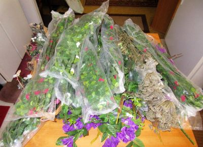 Silk Plastic plants Vines Cat tails etc...Bunches of them 13 new in package and more