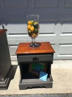 Solid wood slate gray nightstand/ end table