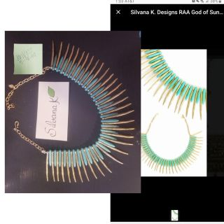 NWT turquoise and gold choker necklace