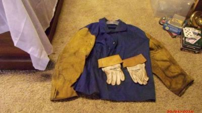 "Leather Welding Jacket/gloves $55 ""The Back Forty"", Adel"
