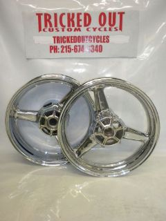 Sell 99-02 YAMAHA YZF R6 Factory Chrome wheel EXCHANGE chrome oem rims 2000 2001-2002 motorcycle in Warminster, Pennsylvania, United States, for US $599.99