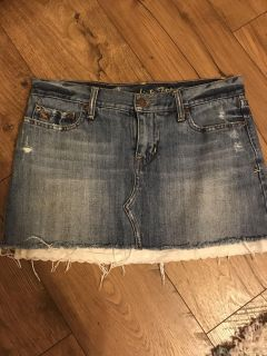 Abercrombie & Fitch Jean Skirt with lace undertrim