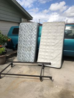 Twin bed frame, mattress and box spring