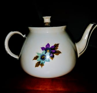 Gibson's Staffordshire England porcelain teacup with real silver spoon