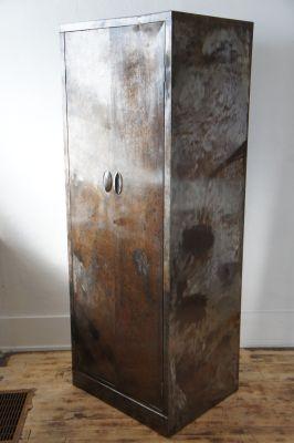 Vintage Distressed Steel Wardrobe