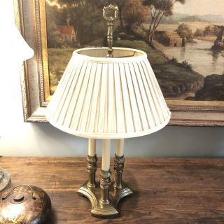Vintage Lamp. With Pleated Shade.