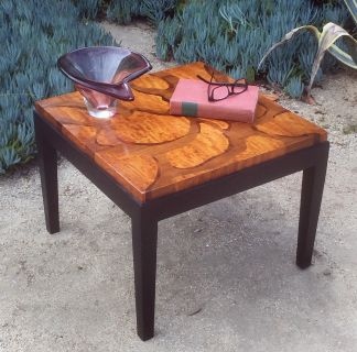 Gorgeous vintage wood inlay end table