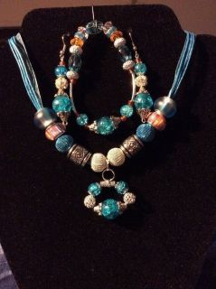 Crafted Hand Made Jewelry.Blue.Green.Red&Blue
