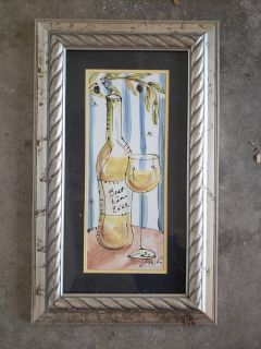 Framed white wine picture
