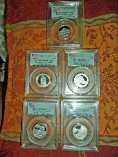 America the Beautiful National Park Silver Quarters F/S PCGS PR 69 DCAM 5 Piece Coin Set 2010 S