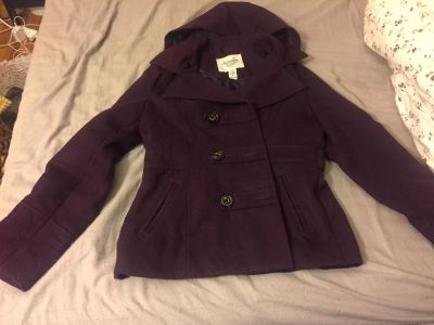 Women's peacoat jacket size Medium with removable hood