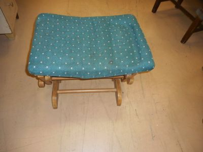 Wooden frame Fabric Padded Top Rocking swinging foot rest ottoman