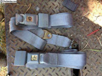 2 Seat belts lap belt great condition grey