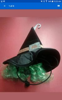 New Pet Halloween Costume accessory Witch Hat with Hair Dog Cat XS S
