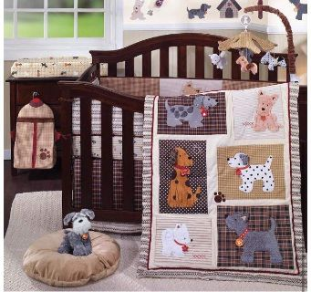 Lambs & Ivy Woof Baby Infant Toddler Child Bedding Set and Mobile