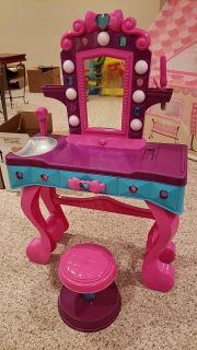 Make up table with stool.