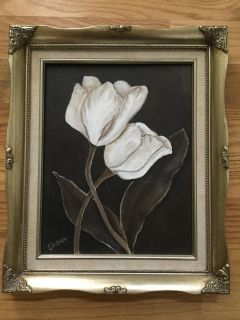 Hand painted Canvas of Tulips