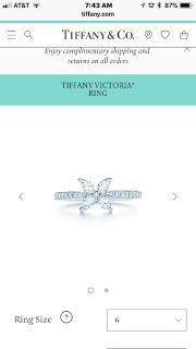 Tiffany Size 6 Diamond Ring 'The Victoria'